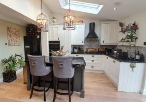 Wren white kitchen island and stone worktop