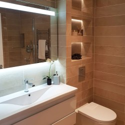 stylish bathroom with niches and porcelain tiles