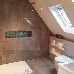 modern shower with velux window in loft room