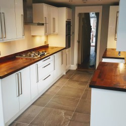 Howdens large kitchen with solid wood worktop